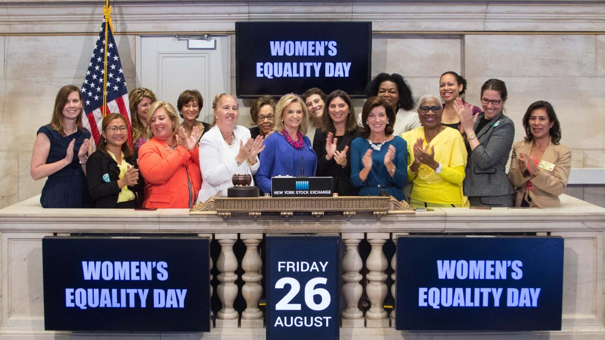 Maloney Rings the opening bell at the NYSE for Women's Equality Day